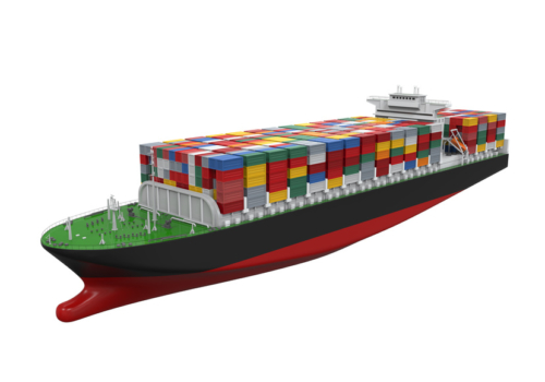 Containerschiff in 3D